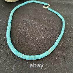 Bleu Turquoise Heishi Sterling Silver Collier Navajo Pearls Stab Diplômé 1184