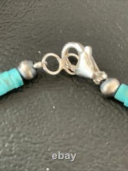 Bleu Turquoise Heishi Sterling Silver Collier Navajo Pearls Stab Diplômé 1850