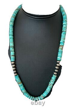Bleu Turquoise Heishi Sterling Silver Collier Navajo Perles Stab 8mm 20 970