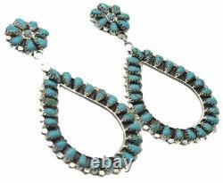 Boucles D'oreilles En Cluster En Argent Turquoise Manufacturé À La Main Navajo Par Mathilda B
