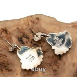 Boucles D'oreilles En Cluster Turquoise Argent Sterling Dangles Old Pawn Style Yazzie