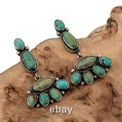 Boucles D'oreilles Navajo Turquoise Sterling Silver Green Dangles Old Pawn Style