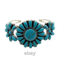 Bracelet De Cluster En Argent Turquoise, Fabriqué À La Main Par Navajo Rosanna Williams