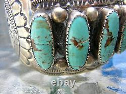 Bracelet Large Cuff Turquoise Sterling Signé Wb Wilbert Benally 1970 Navajo