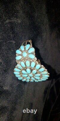 C101 Bracelet En Argent Sterling Manufacturé Main Navajo Turquoise Bracelet J. Williams