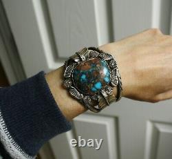 Carlos White Eagle Native American Bisbee Turquoise Bracelet En Argent Sterling