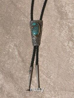 Charles Loloma Hopi Sterling Silver Et 14k Or Nevada Blue Turquoise Bolo Tie