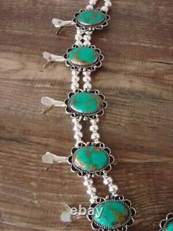 Collier De Squash Turquoise Argent Nickel Navajo Par Jackie Cleveland