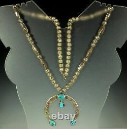 Collier Naja Sterling Navajo 26.5 1920s Turquoise Perles De Banc Et Melons Signés