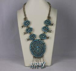 Collier Natif Américain Navajo J. M. Begay Turquoise & Silver Squash Blossom Collier