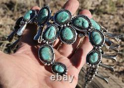 Collier Vintage Navajo Squash Blossom. Pas De Réservation. Grandes Pierres