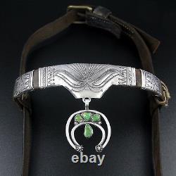 Début Des Années 1900 Navajo Coin Silver & Turquoise Horse Headstall / Bridle