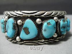 Dynamic Vintage Navajo Morenci Turquoise Sterling Bracelet En Argent Vieux
