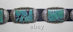 Ernest Bilagody Navajo Vintage Argent Sterling & Ceinture De Concho Turquoise