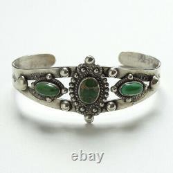Fred Harvey Era Navajo Vert Turquoise Sterling Bracelet De Manchette Décoration