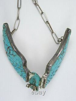 Grand Charlie Bowie Navajo Thunderbird Eagle Pendentif Turquoise Collier Sterling