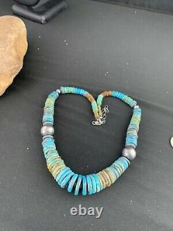 Hommes Native American Navajo Bleu Vert Turquoise Collier En Argent Sterling 20 233