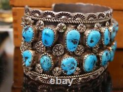 Hommes Ronnie Hurley Navajo Cuff Bracelet Sterling Argent Turquoise Nuggets Timbre