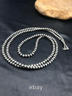 Impressionnant! Native American Navajo Pearls 5 MM Collier De Perles D'argent Sterling 36