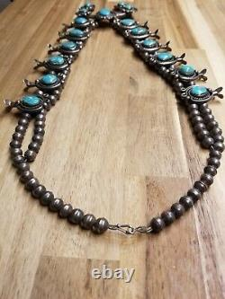 Incroyable Vintage Navajo Turquoise Sterling Silver Squash Blossom Collier Vieux