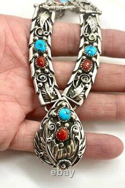 Keith James Navajo Sterling Silver Turquoise Coral Squash Blossom Bib Collier