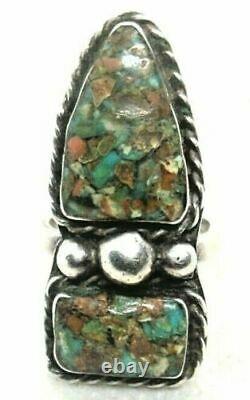 Lot De 9 Bagues De Navajo Mexicaines En Bois Pétrifié À L'agate De Turquoise Sterling Sterling