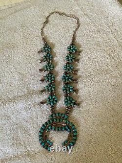 Magnifique Bracelet En Argent Sterling Native American Squash Blossom Turquoise Collier