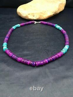Magnifique Navajo Pourpre Sugilite Turquoise Perle Sterling Collier En Argent 20 3280