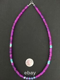 Magnifique Navajo Pourpre Sugilite Turquoise Perle Sterling Silver Collier 21 1286