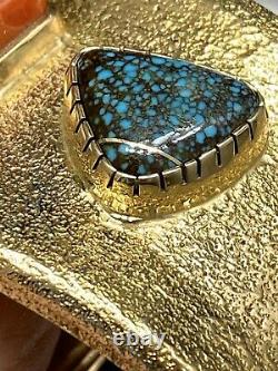Massive 244+g Wes Willie Solid 14k Gold Lander Blue Turquoise & Red Coral Manchette