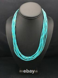 Native American Blue Turquoise Heishi 10st Sterling Collier D'argent 20 4199