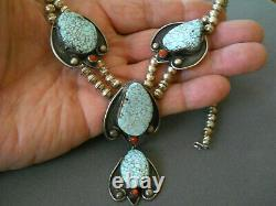 Native American Dry Creek Webbed Turquoise & Coral Collier De Perles D'argent Sterling
