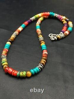 Native American Multicolor Treasure Turquoise Sterling Collier En Argent 20 4167