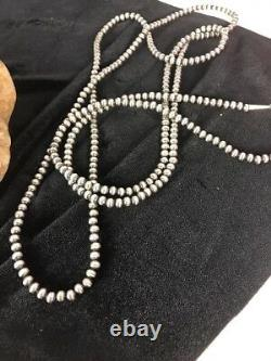 Native American Navajo Pearls 4 MM St Silver Perle Collier 60 Soldes Cadeau S422