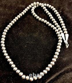 Native American Navajo Pearls 4mm Sterling Silver Collier De Perles 21 Vente