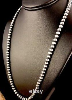 Native American Navajo Pearls 5 MM Collier De Perles En Argent Sterling 28vente 328