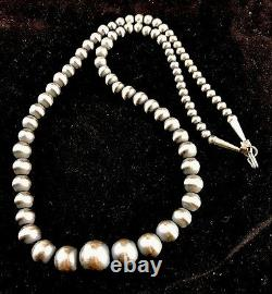 Native American Navajo Pearls Collier De Perles D'argent Sterling Diplômé 20 341