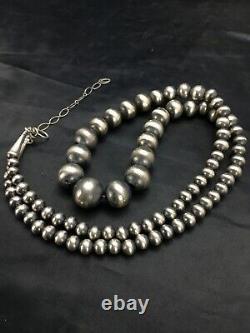 Native American Navajo Pearls Est Diplômée En Argent Sterling Collier De Perles 26