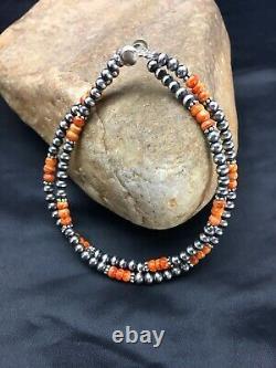 Native American Navajo Pearls Sterling Argent Orange Spiny Oyster Bracelet