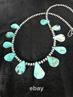 Native American Navajo Pearls Sterling Silver Bleu Collier Turquoise 306