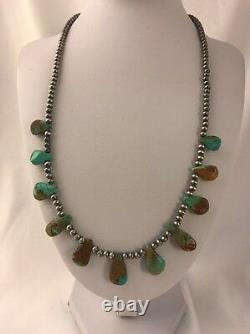 Native American Navajo Pearls Sterling Silver Royston Turquoise Collier Cadeau377