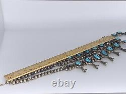 Native American Navajo Vintage Squash Blossom Sterling Silver Turquoise Collier
