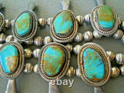 Native American Pilot Mountain Turquoise Sterling Silver Squash Collier Blossom