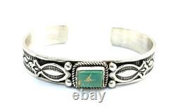 Native American Sterling Argent Navajo Kingman Turquoise Cuff Bracelet