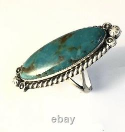 Native American Sterling Silver Navajo Indian Kingman Turquoise Bague Taille 7