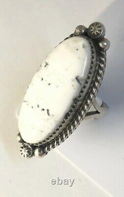 Native American Sterling Silver Navajo Indian White Buffalo Taille De L'anneau 7 Signé