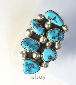 Native American Sterling Silver Navajo Kingman Turquoise Ring. Taille Signé 7 Et 3/4