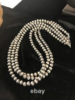 Native American Sterling Silver Navajo Pearls Collier 7 MM 21 3 Strand Gift