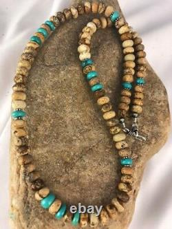 Native American Sterling Silver Turquoise Photo Collier Pour Hommes Jasper 8092