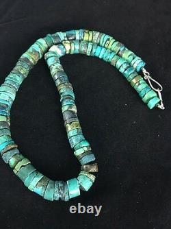 Native American Turquoise 8 MM 20 Heishi Collier De Perles D'argent Sterling 1135